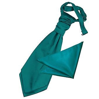 男の子用サテン結婚式ネクタイ & ポケット広場セット ティール プレーン