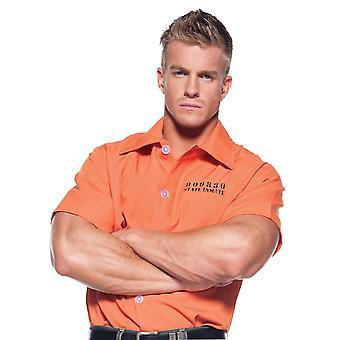 Prisoner Jailbird Convict Criminal Inmate Role Play Mens Costume Orange Shirt