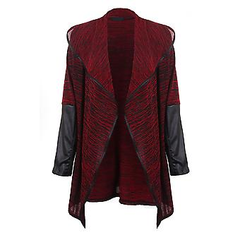 Ladies Wet Look Long Sleeve Multi Textured Plain Women's Waterfall Cardigan