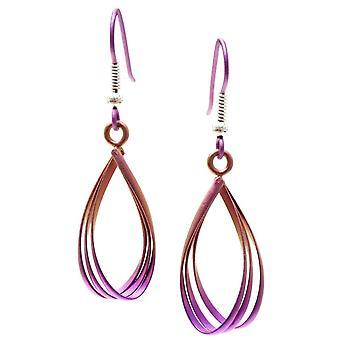 Ti2 Titanium Wirework Oval Drop Earrings - Pink