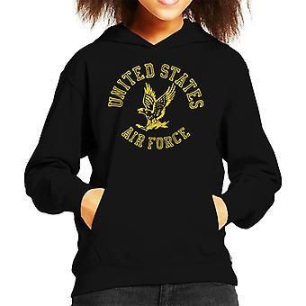 US Airforce Eagle Yellow Text Kid's Hooded Sweatshirt