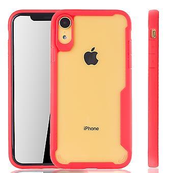 Punainen agio Omena iPhone tapauksessa XR hybridi Edition | Tukee Langaton lataaminen | hieno akryyli pehmeä silikoni rengas punainen