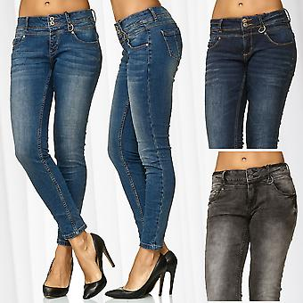 Women's Jeans Pants Skinny Tube Denim Stretch Used Effect Stone Washed Trousers