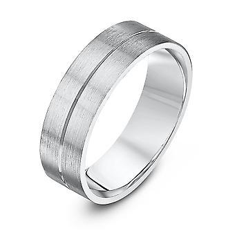 Star Wedding Rings Palladium 950 Flat Court Matt With Polished Center Groove 6mm Wedding Ring