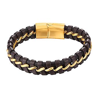 U7 braided bracelet with a stripe of metal-brown and gold