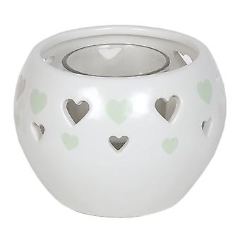 Aroma Cut Out Heart Tealight Holder, Green