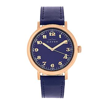 Elevon Felix Leather-Band Watch - Rose Gold/Blue