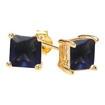 Ah! Sieraden-vierkant Sapphire kristallen van Swarovski. Gouden gevuld, gestempelde GL