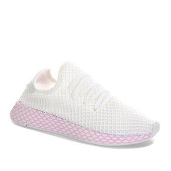 Womens adidas Originals Deerupt Runner Trainers In Footwear White / Clear Lilac
