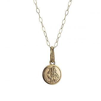 Eternity 9ct Gold pieni 7mm St. Christopher riipus ja 16 ' ' Trace Chain