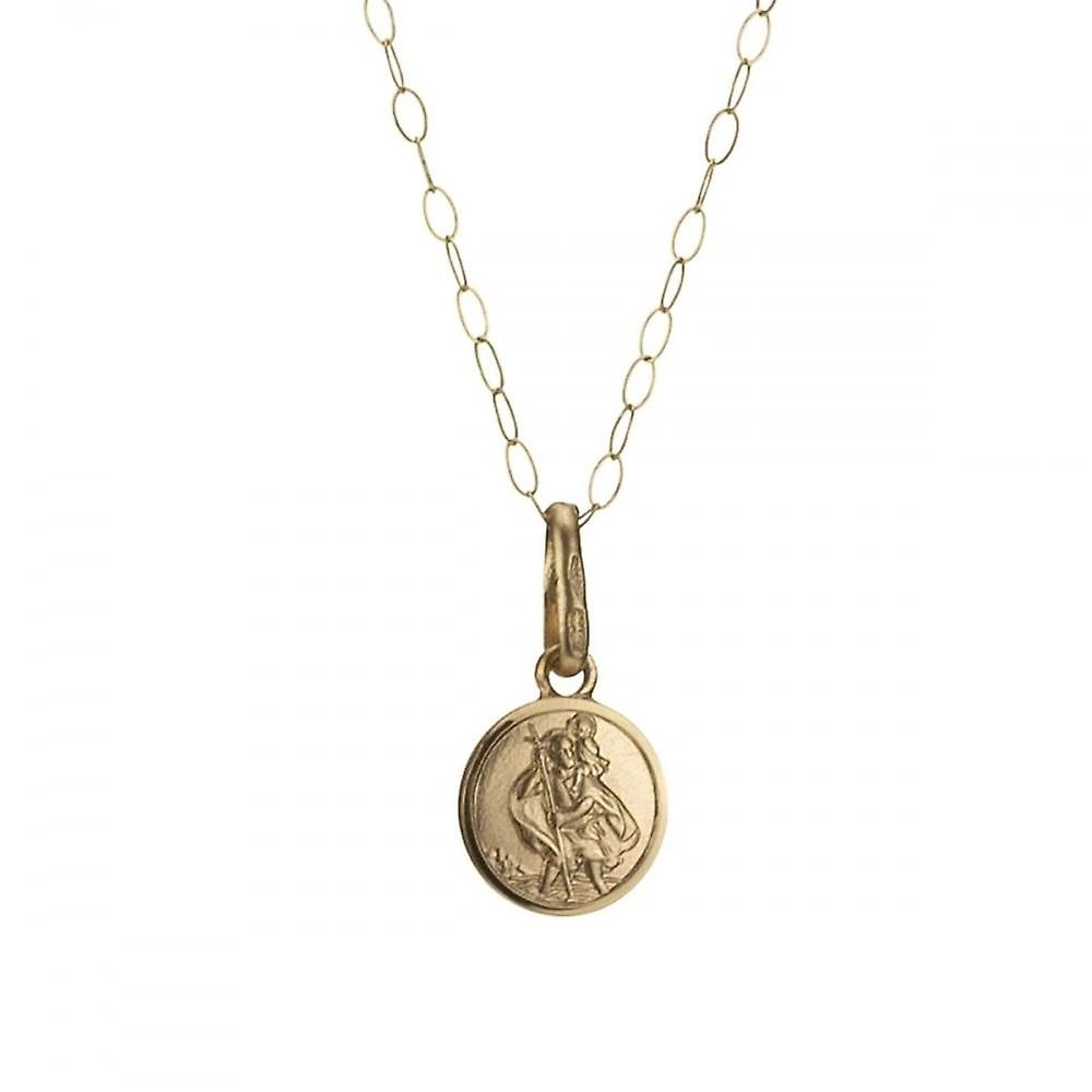 Eternity 9ct Gold Small 7mm St. Christopher Pendant And 16'' Trace Chain