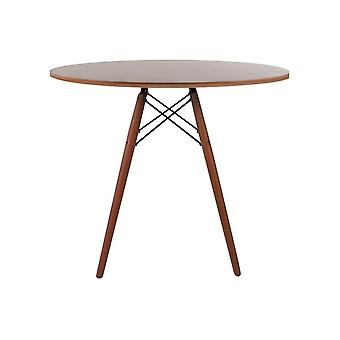 Fusion Living Eiffel inspirado mesa de comedor circular de nogal medio con patas de madera de nogal