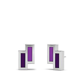 Die lila Herz Foundation Sterling Silber asymmetrische Emaille Ohrstecker in lila und lila