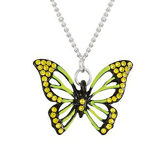 Eternal Collection Flutter By Butterfly Yellow And Green Crystal Silver Tone Pendant