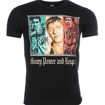 Camiseta-Scarface Money Power Respect Print-Negro