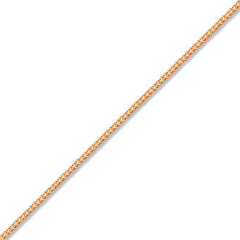 Jewelco London Unisex Solid 9ct Rose Gold Diamond Cut Curb 1mm Gauge Pendant Chain Necklace