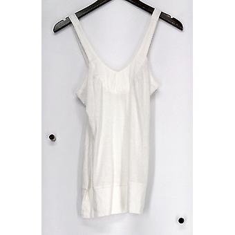 DNA Couture Top Wide Strap V-Neck Tank w/ Banded Trim Ivory Womens