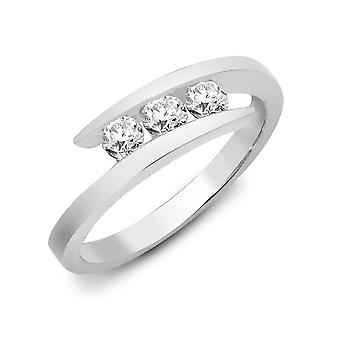 Jewelco London Ladies Solid 9ct White Gold Channel Set Round H I1 0.5ct Diamond Crossover Wrap Trilogy Ring 6mm
