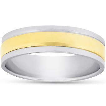 6mm 950 Platinum & 18k Gold Two Tone trouwring Ring