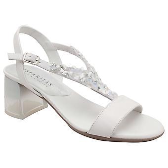 Hispanitas Grey Shimer Stone Block Heel Leather Sandal