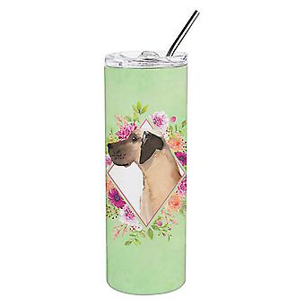 Fawn Great Dane Green Flowers Double Walled Stainless Steel 20 oz Skinny Tumbler