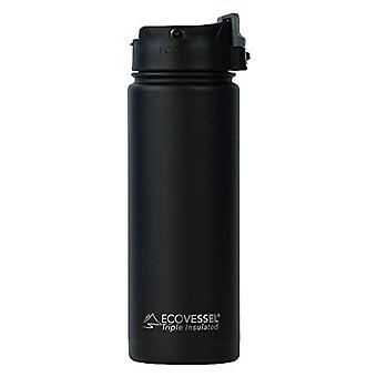 EcoVessel Perk - Unisex-Adult Thermal Bottle - Black Shadow - 600ml