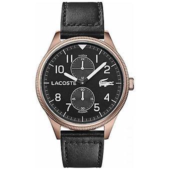 Lacoste | Mænd ' s Continental | Sort læderrem | Sort urskive | 2011042 Watch