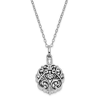 Gift pouch Spring Ring Gepolijst terug Rhodium vergulde afwerking Scroll Circle Remembrance Ketting 18 Inch Sieraden Geschenken voor