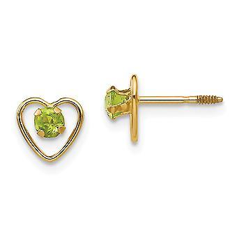 14k Yellow Gold Polished Screw back Post Earrings 3mm Peridot Love Heart Earrings Measures 6x6mm Jewelry Gifts for Women