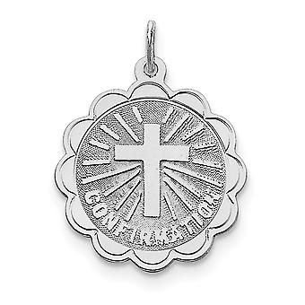 925 Sterling Silver Solid Faceted Polished Engravable Laser Etched Confirmation Disc Charm Pendant Necklace Jewelry Gift