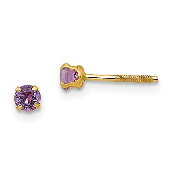 14k Yellow Gold Polished Simulated Screw back Post Earrings 3mm Synthetic Amethyst for boys or girls Earrings Measures 3