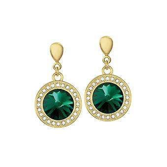 Eternal Collection Viva Emerald Green Austrian Crystal Gold Tone Drop Clip On Earrings