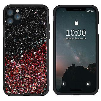 Bakstycket gnista glitter TPU + PC för Apple iPhone 11 Pro Max (6,5) röd