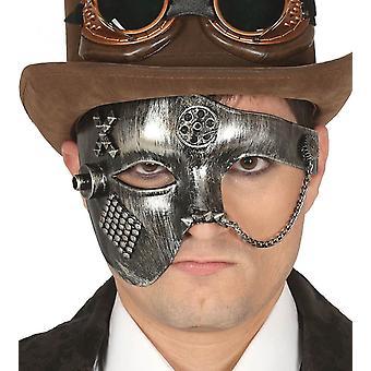 Mens zilver Steampunk masker Fancy Dress accessoire