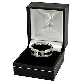 Liverpool FC Official Black Inlay Football Crest Ring