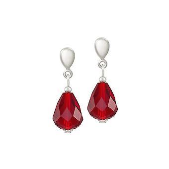 Eeuwige collectie verfijning ruby rood kristal zilveren Toon drop schroef terug clip op oorbellen
