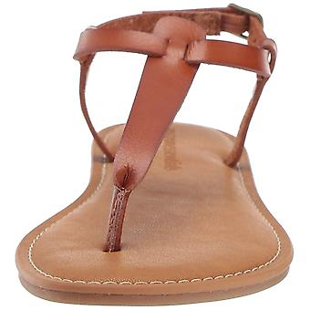 Amazon Essentials Women's Casual Thong with Ankle Strap Sandal, tan, 9 B US
