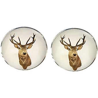 Bassin and Brown Stags Head Cufflinks - Brown/White