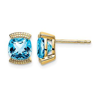 1.75 Carat (ctw) Natural Blue Topaz Earrings in 14K Yellow Gold with Accent Diamonds