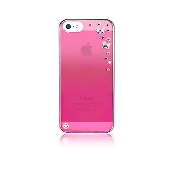 هال لIphone Se (2016) / 5s / 5 الفراشات الوردية مع بلورات سواروفسكي