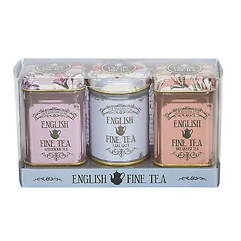 Vintage floral triple english tea selection mini tin gift pack