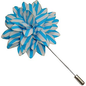Bassin and Brown Stripe Flower Lapel Pin - Blue/White