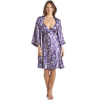 Camille Luxury Kimono Style Purple Floral Print Chemise And Wrap Set