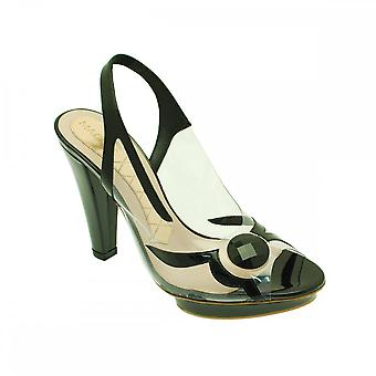 Magrit Perpex Platform Diamante Sandal