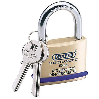 50mm Solid Brass Padlock and 2 Keys with Mushroom Pin Tumblers Hardened Steel Shackle and Bumper - 8302/50