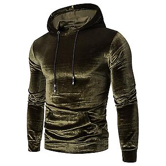 Allthemen Men's Casual Stylish Hooded Solid Fleece Long-sleeve Top Sweatshirt
