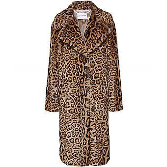 Stand Fanny Faux Fur Leopard Print Coat