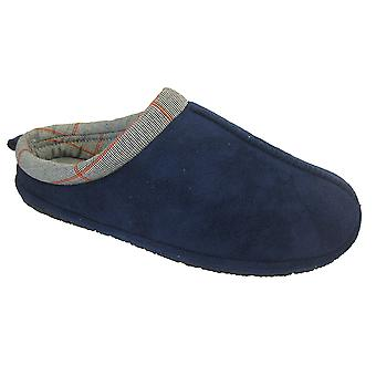 Coolers Mens Microsuede Checkered Fabric Lined Mule Slippers