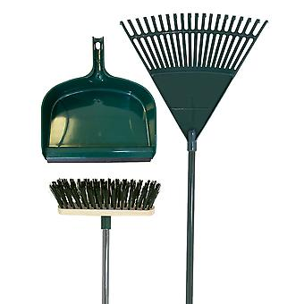 Charles Bentley Garden Tidy Set - Rake, Broom, Shovel Pan