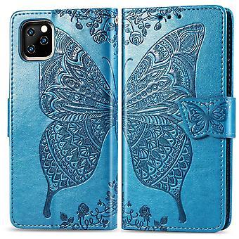 Para iPhone 11 Caso Azul Borboleta Azul Emboss Padrão PU Capa de carteira de couro com slots de cartão e dinheiro